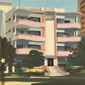 L'immeuble rose - Tableau de la Havane par Michelle Auboiron