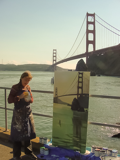 Peinture live des ponts américains de New York et San Francisco par Michelle Auboiron