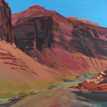 Peinture de l'Ouest américain par Michelle Auboiron - Colorado river - Moab - Utah