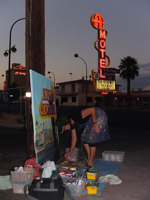 Michelle-Auboiron-Motels-of-the-50-s-peinture-live-a-Las-Vegas-10