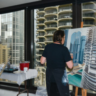 Marina-city-from-IBM-Tower-Chicago-Painting-by-Michelle-Auboiron-4 thumbnail