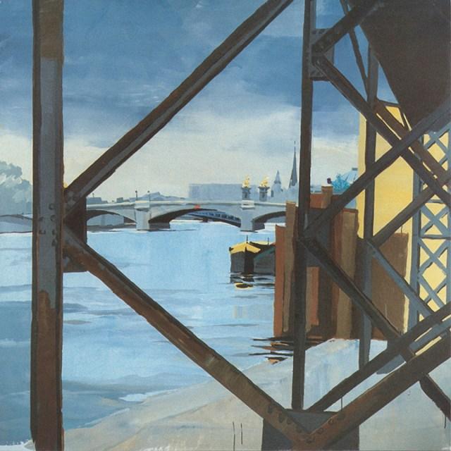 Exposition-Les-Ponts-de-Paris-peintures-de-Michelle-Auboiron-Galerie-d-art-de-l-aerogare-Paris-Orly-ouest-recto