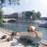 Michelle-Auboiron-peint-in-situ-les-Ponts-de-Paris-Photo-Anne-Sarter-17 thumbnail