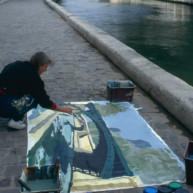 Michelle-Auboiron-peint-in-situ-les-Ponts-de-Paris-Photo-Anne-Sarter-19 thumbnail