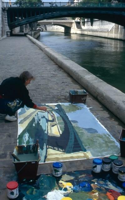 Michelle-Auboiron-peint-in-situ-les-Ponts-de-Paris-Photo-Anne-Sarter-19
