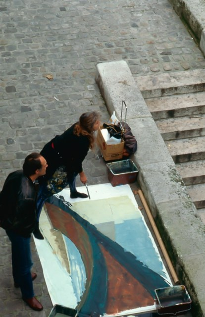 Michelle-Auboiron-peint-in-situ-les-Ponts-de-Paris-Photo-Anne-Sarter-5