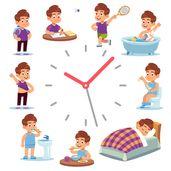 Horloge des routines quotidiennes. Horaire de la vie d'un garçon heureux, du petit déjeuner à la maison, en passant par l'école et le sommeil.