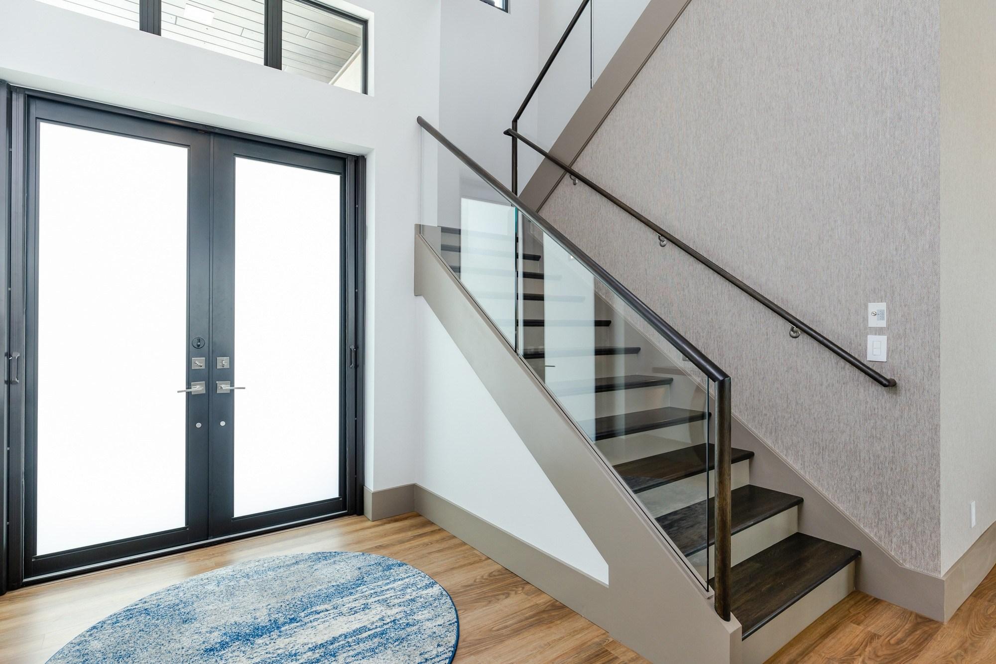 Front Door Staircase Closeup Aubuchon Homes | Front Door Stairs Design | Main Door Stair | 2Nd Floor | Villa | Brick | Residential
