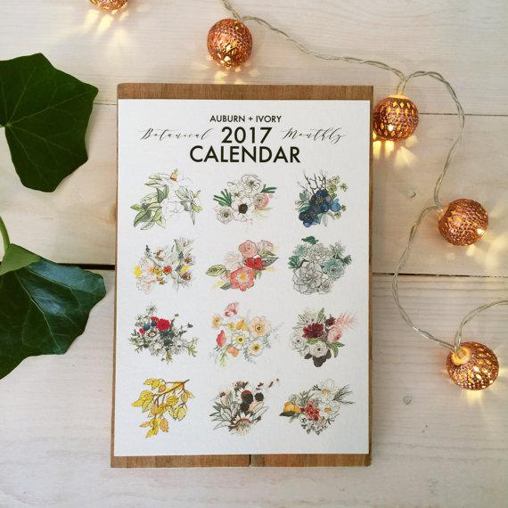 hand made holiday gift- watercolor botanical calendar