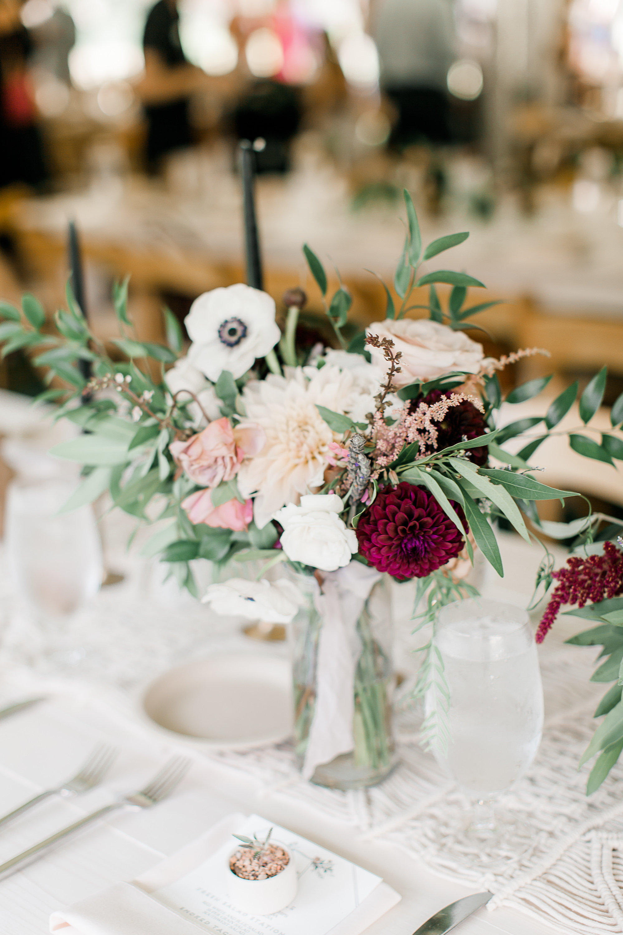 wedding at rockmill, state + arrow flowers