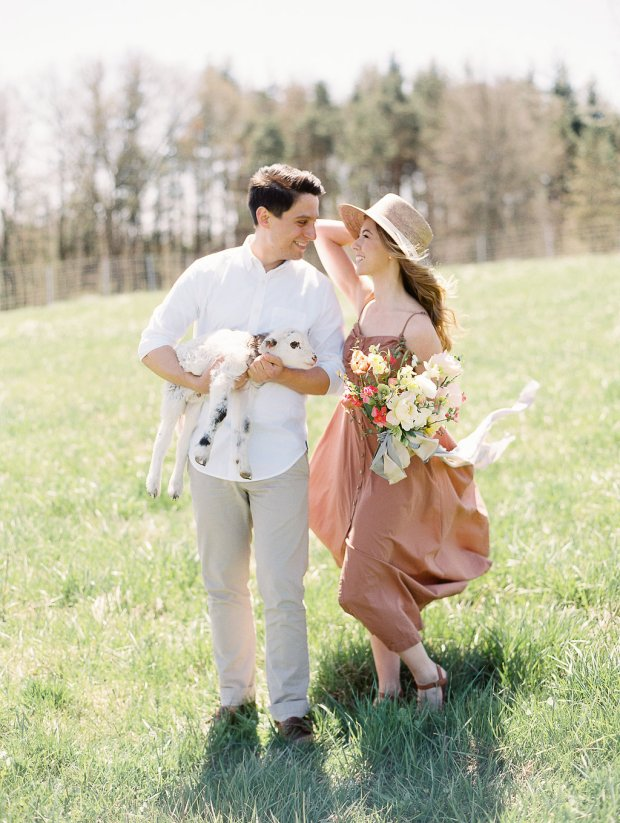 romantic springtime farm engagement session