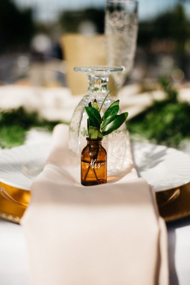 amber glass bottle calligraphy, auburn + ivory