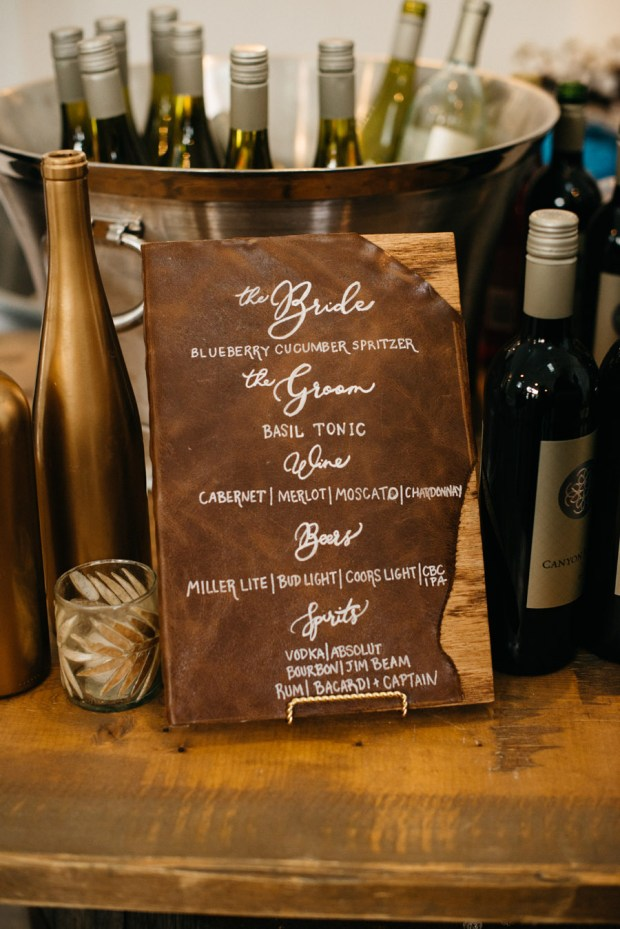 Unique Leather wedding signage
