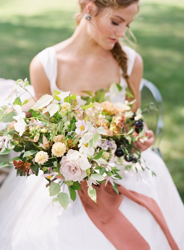 painting-inspired wedding design, Old Slate Farm bouquet