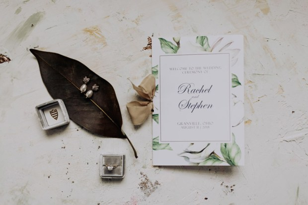 Magnolia inspired wedding program
