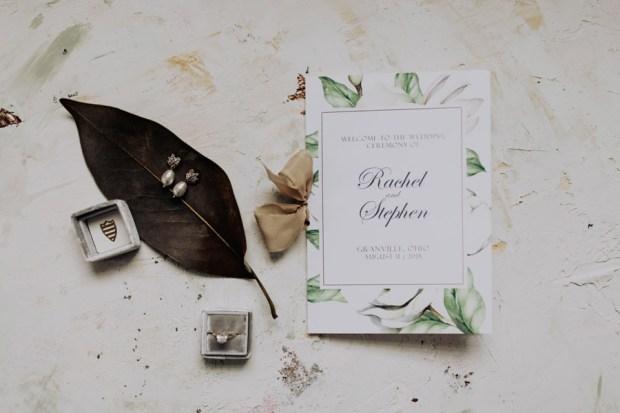Magnolia inspired wedding program