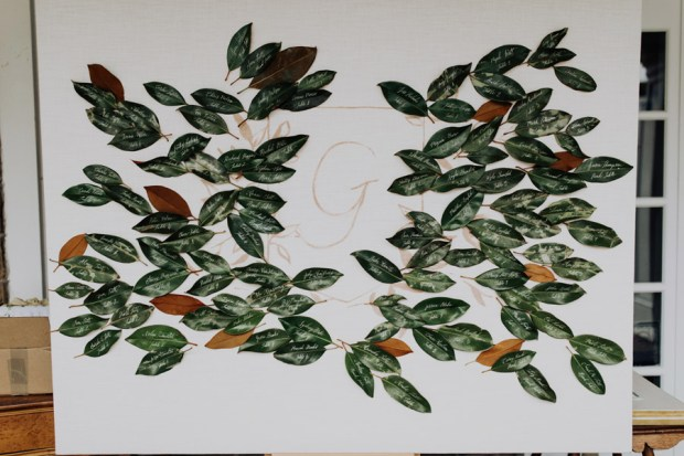 Magnolia leaf seating chart by Auburn + Ivory for southern inspired wedding ideas