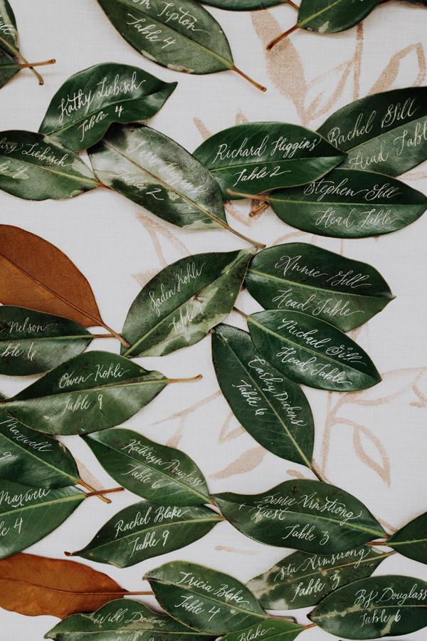 magnolia leaf wedding decor by Auburn + Ivory
