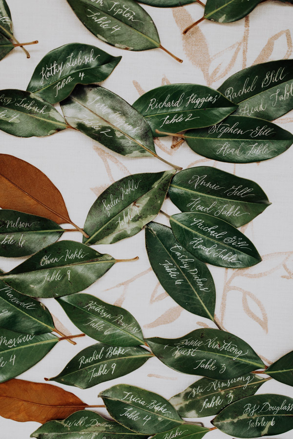 magnolia leaf wedding decor by Auburn + Ivory