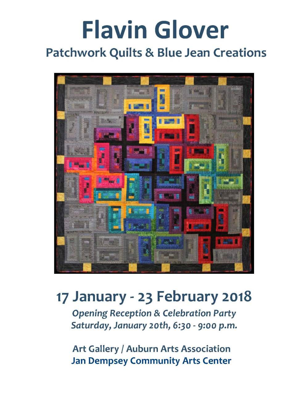 medium resolution of at the beginning of 2018 the auburn arts association presented an exhibition of patchwork quilts and blue jean creations by auburn resident flavin glover