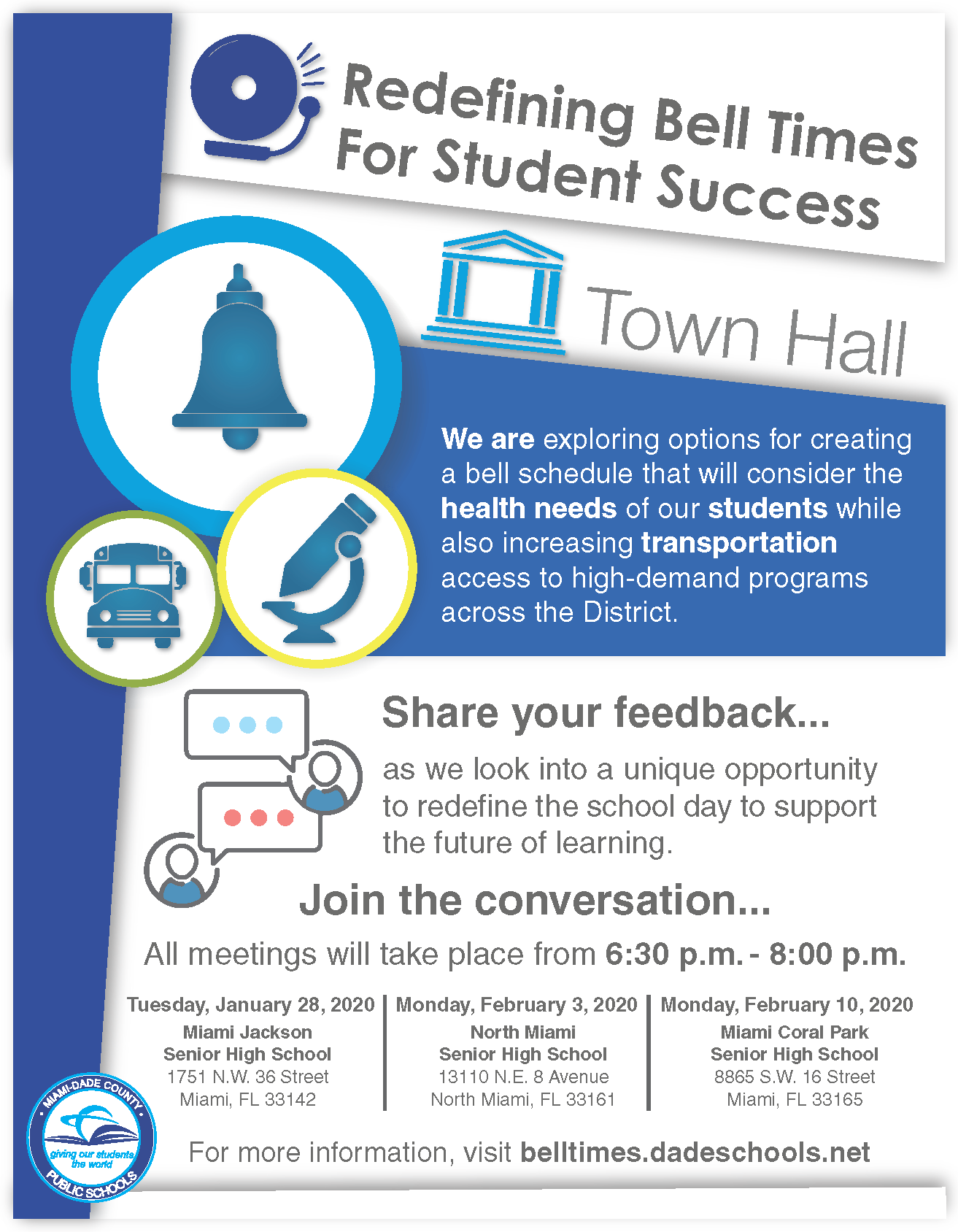 Bell Schedule Townhall Flyer