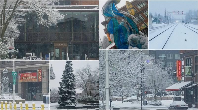 downtown Auburn, auburn winter, snow auburn, auburn city hall, bubble sculpture, oddfellas