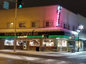 Nelsons jewelry, auburn snow, downtown auburn, main street