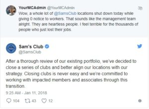 sam's club, sam's club closing, twitter, sam's club twitter reply