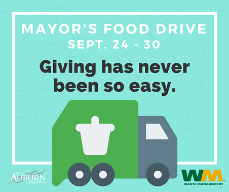 Mayor Backus, Auburn Food Bank and Waste Management team up to fight hunger