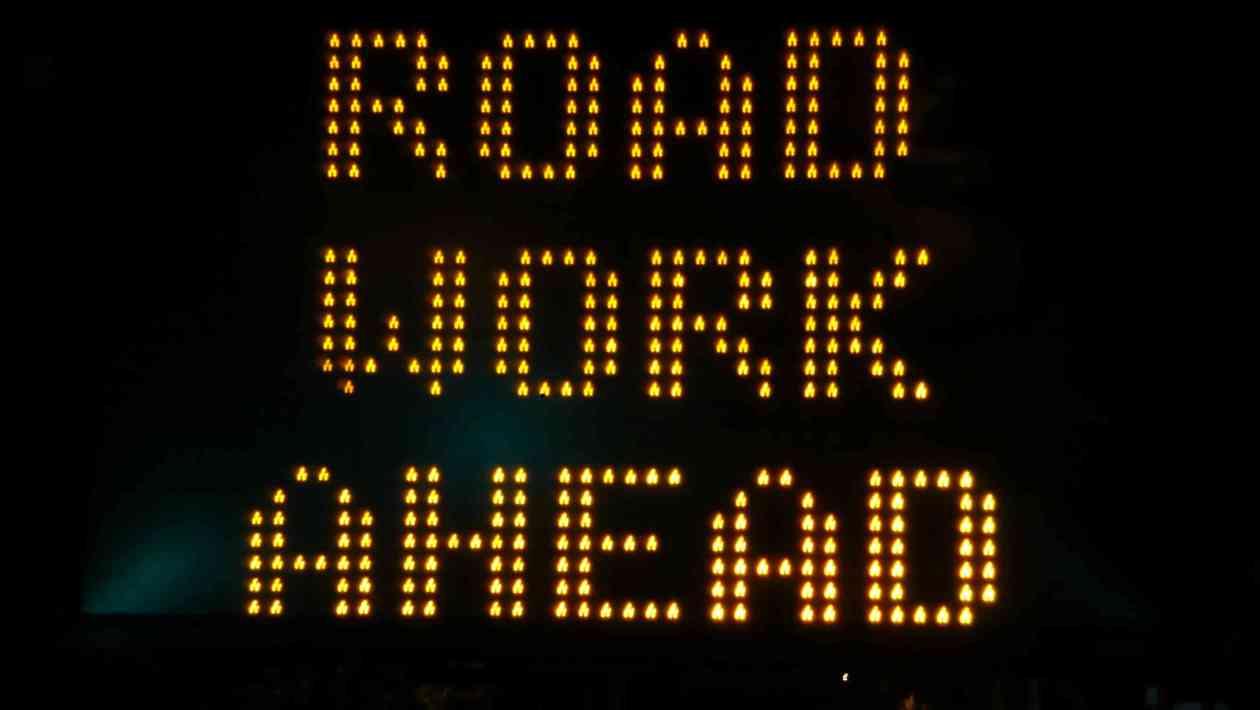road work, traffic advisory