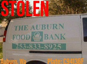auburn food bank, auburn food bank van, stolen van, auburn police department, auburn, diego moreno food drive
