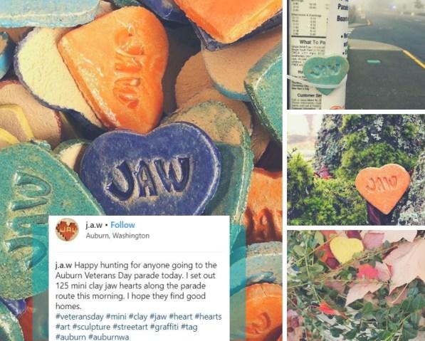 jaw hearts, auburn hearts, street art hearts, clay heart, concrete heart, auburn hearts,