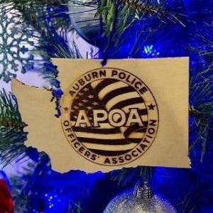 APOA, APD, auburn wa police officers association, auburn wa police department, auburn police department, police ornament, auburn police officers association, police officers association, wooden ornament, washington state ornament