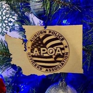 Auburn Police Officers Association, APOA, Auburn Police Department, APD, Auburn WA Police, City of Auburn, Hand Carved, Wooden Ornament, Handmade Ornament
