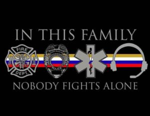 in this family, 911 telecommunicator, dispatch, 911 call receiver, thin gold line, first responder family