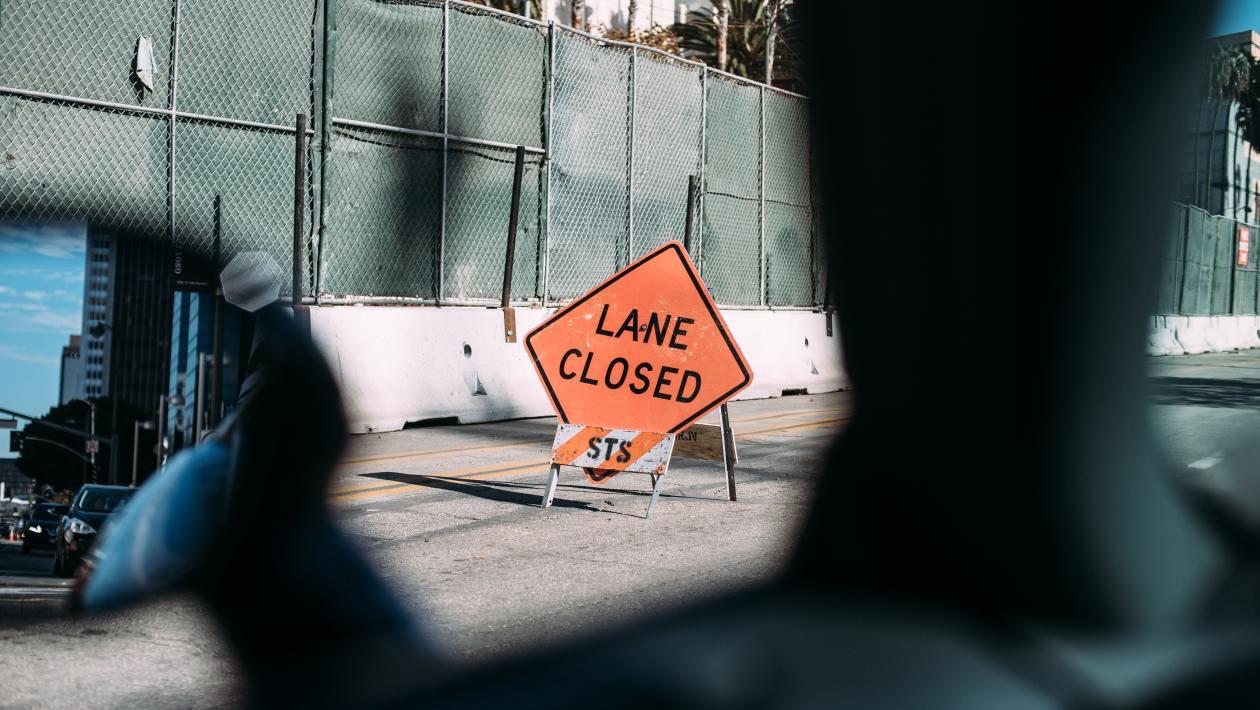 road work, lane closed