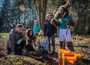 The Mariner Moose, planting trees, King County 1 million trees 2020