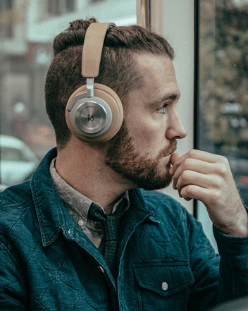 man in headphones, headphones, hipster, manbun, playlist