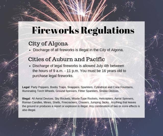 auburn firework laws, firework rules auburn, auburn wa fireworks, algona firework laws, pacific fireworks