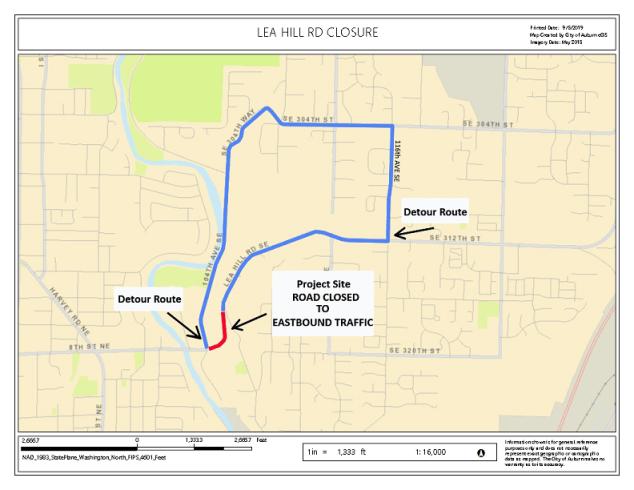 traffic advisory, lea hill corridor, lea hill road, lea hill detour