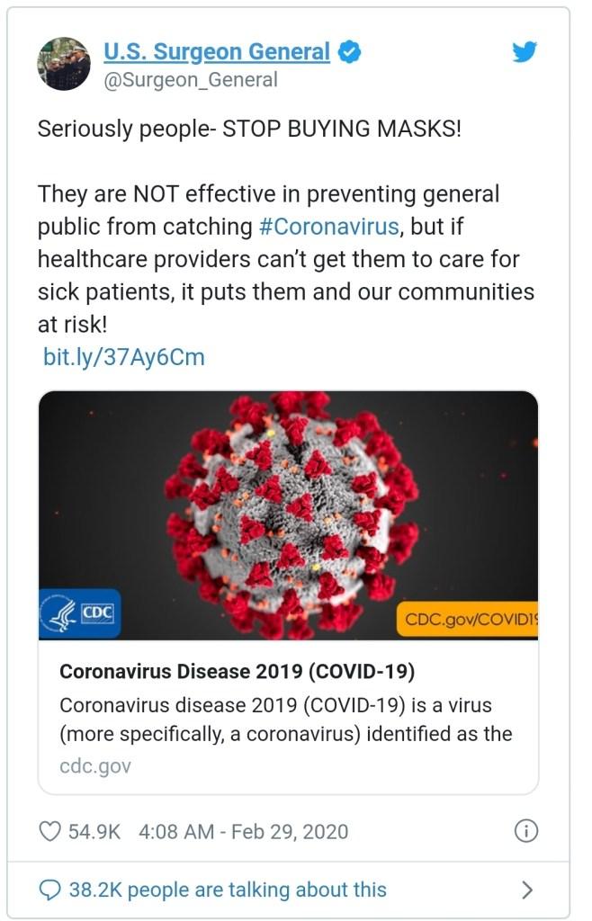 Covid-19, coronavirus, surgeon general