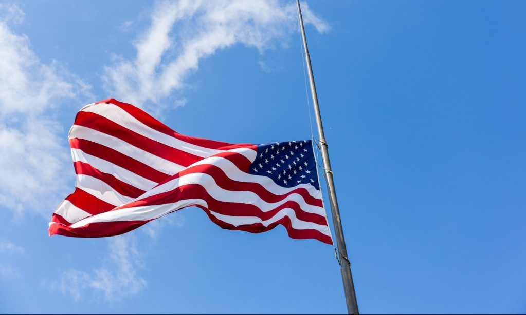 Us flag, flag at half staff, why is the flag at half staff, flags lowered to half staff