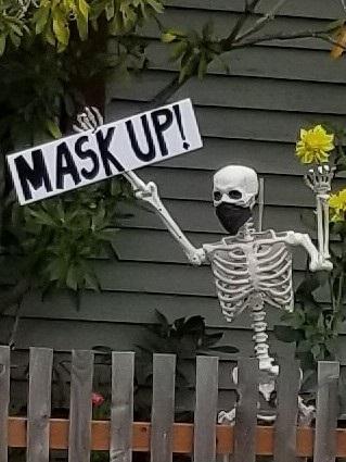 mask up skeleton, halloween 2020, halloween decoration, 2020 halloween, safe halloween