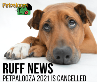 """2021 Petpalooza cancelled graphic. A brown dogs lays down looking up with a sad look on its face. Below the dog are the words """"Ruff News Petpalooza 2021 is cancelled"""""""