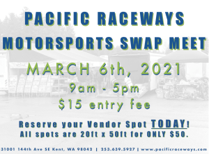 event announcement for Pacific Raceways Swap Meet, information in image contained in article