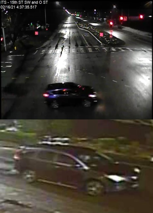 Outdoor camera footage stills of a blue SUV driving on 15 St SW