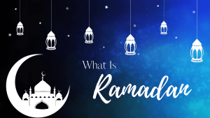 """A graphic reading """"what is Ramadan"""" on a blue background. Lanterns hang down with a mosque in the bend of a crescent moon."""