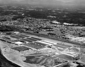 A historic photo of Boeing in Auburn from the sky