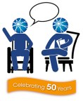 AUCD Share Your Story logo with two stick figures with the color blue, one has a speach bubble, sitting in chairs and an orange banner below with the text Celebrating 50 Years