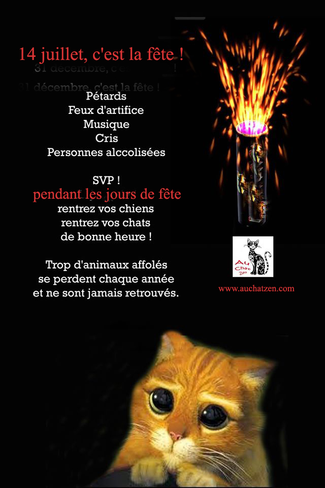 14 juillet, la fête mais pas pour les animaux !